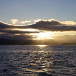 Der Sonnenuntergang in der San Francisco Bay